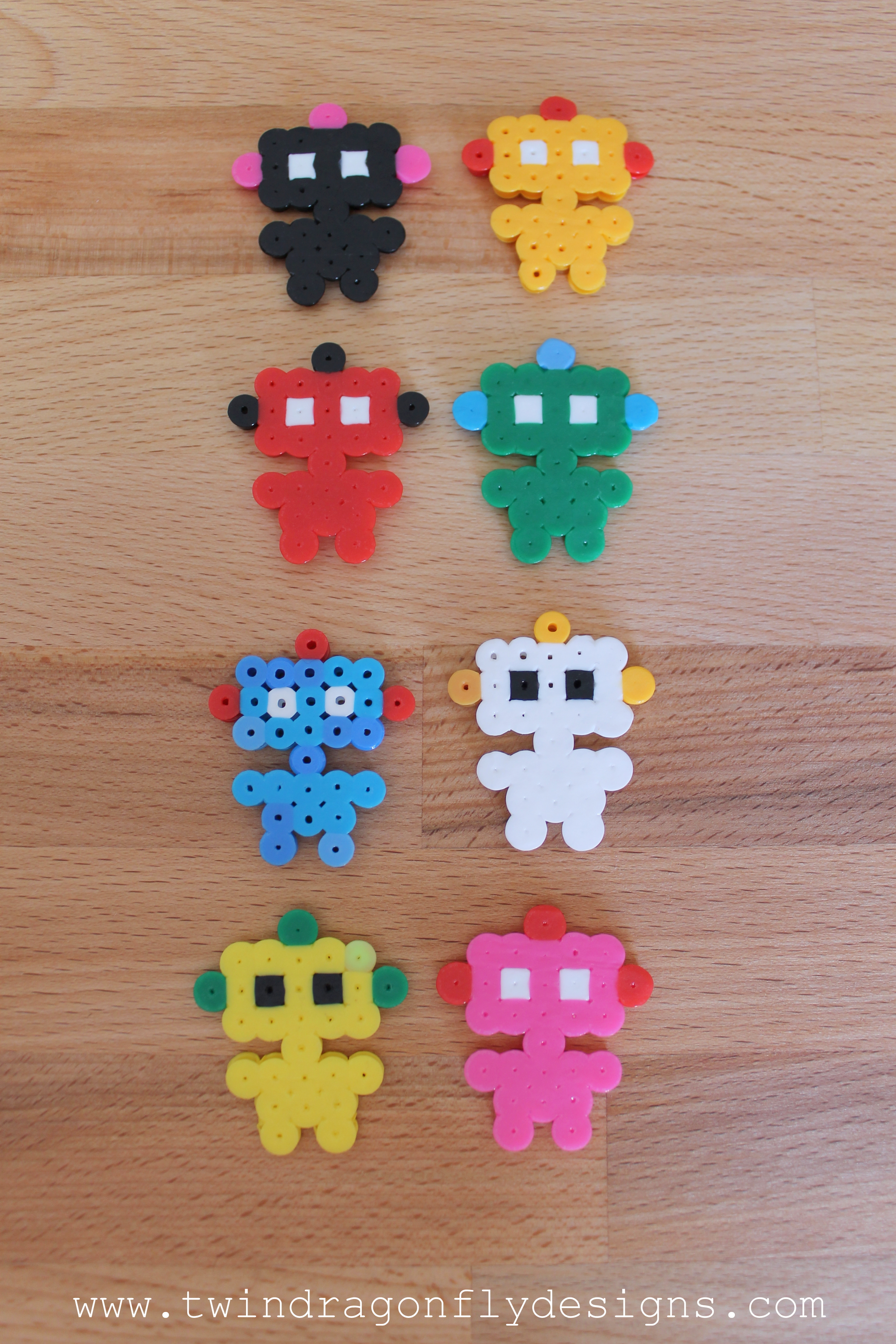 Robot Perler Bead Key Chain Dragonfly Designs
