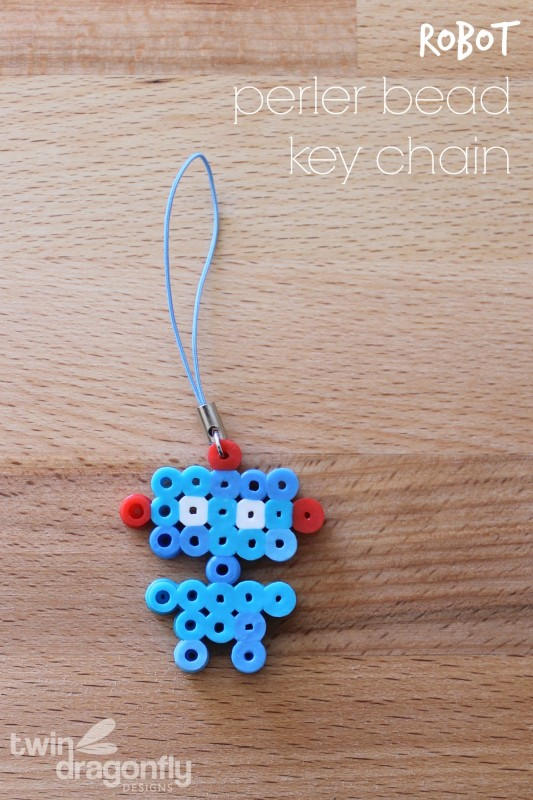Robot Perler Bead Key Chain