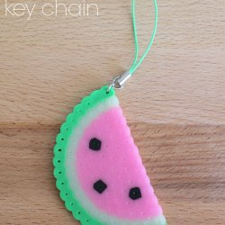 Perler Bead Watermelon Key Chain