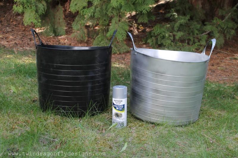 Faux Galvanized Plastic Planter