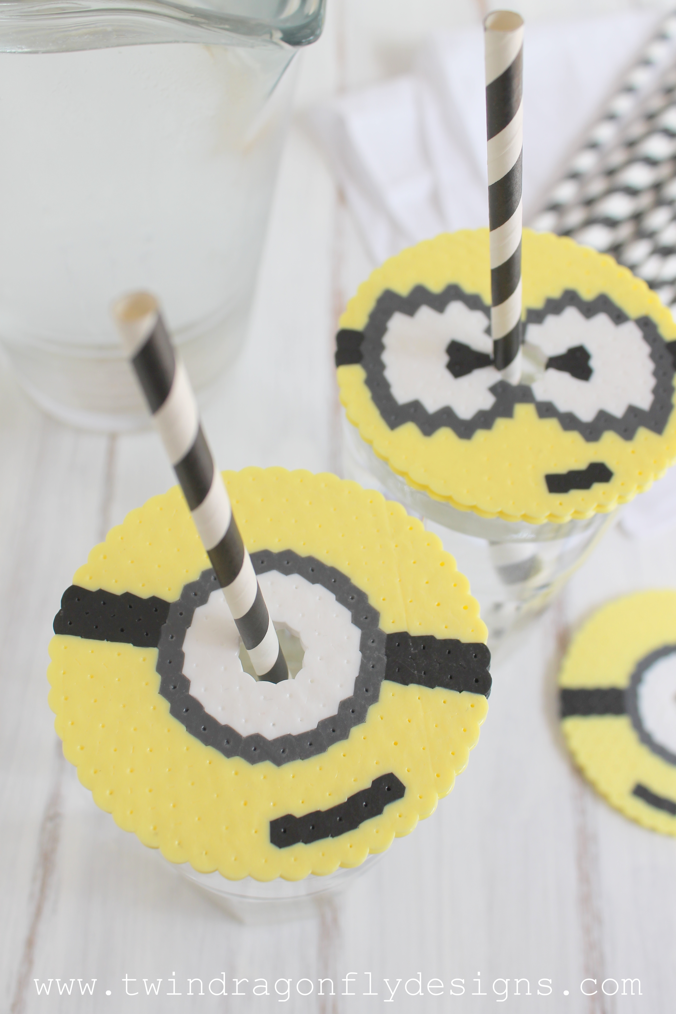 Perler Bead Minion Cup Cover » Dragonfly Designs