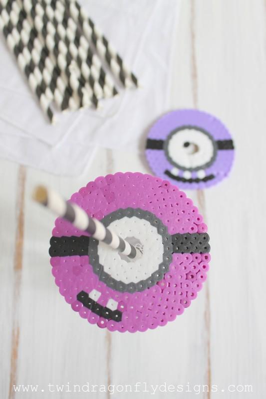 Purple Minion Perler Bead Cup Cover