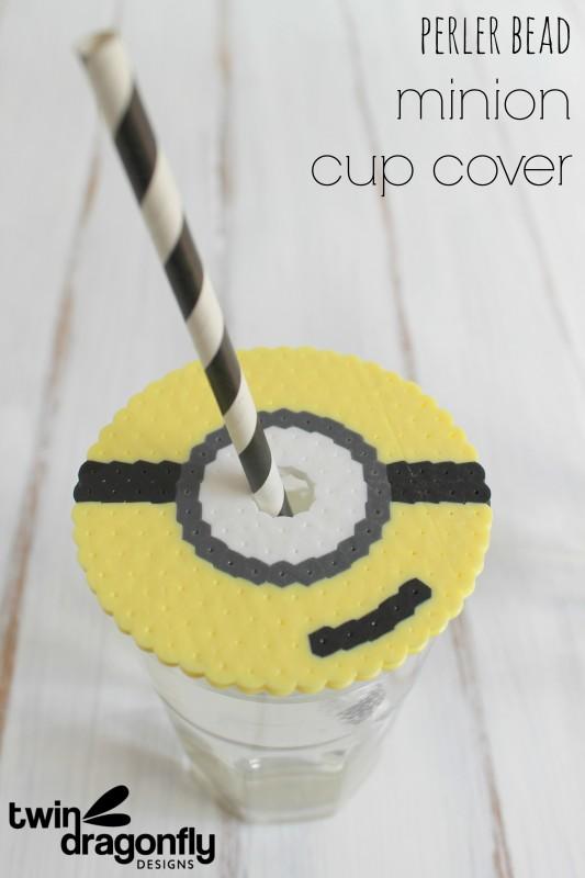 Perler Bead Minion Cup Cover