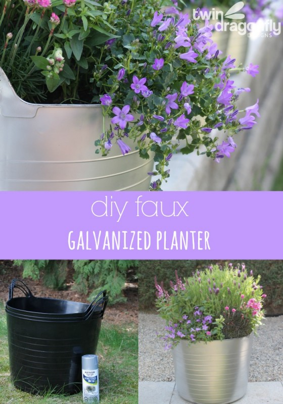 diy faux galvanized planter