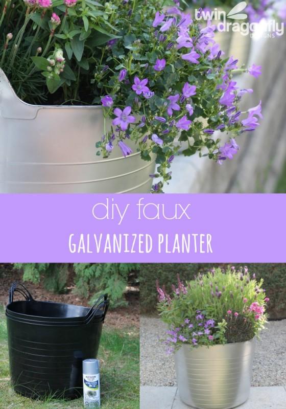 diy faux galvanized planter