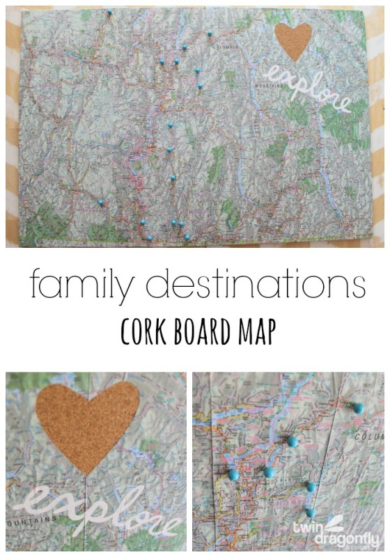 Family Destinations Cork Board Map