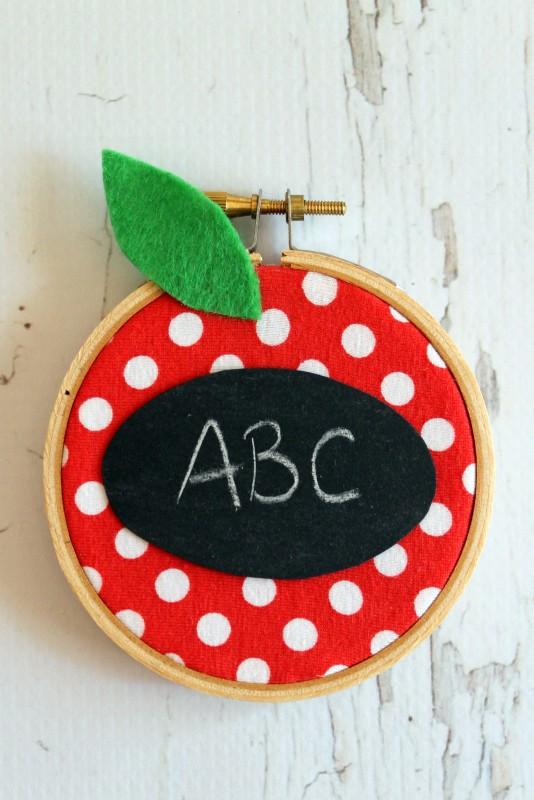Embroidery Hoop Apple Teacher Gift