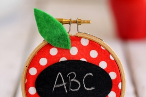 Embroidery Hoop Apple Teacher Gift