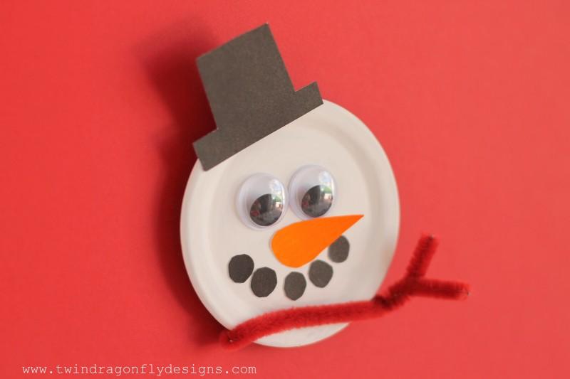 Snowman Snap Lid Magnet
