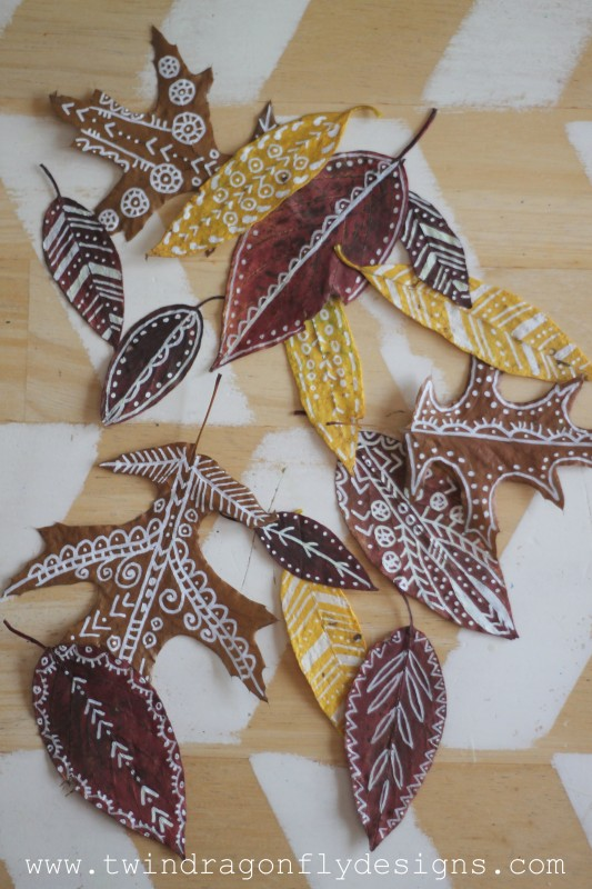 DIY Painted Leaf Garland