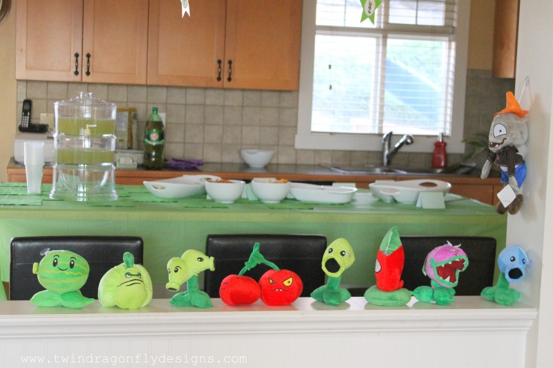 Plants vs zombies birthday party dragonfly designs for Table zombies