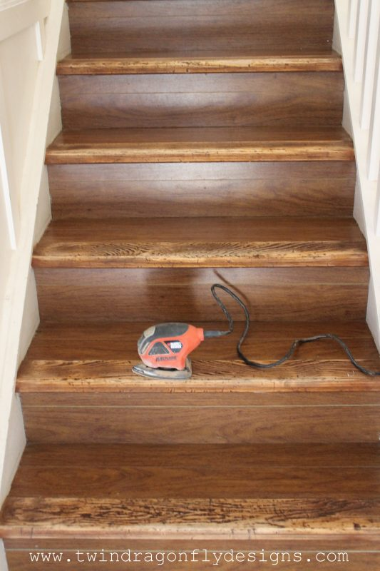 I Began By Sanding The Nose Piece On Each Stair With My Hand Held Sander  And 120 Grit Sanding Paper. I Gradually Reduced The Sanding Paper To 200  Grit For A ...