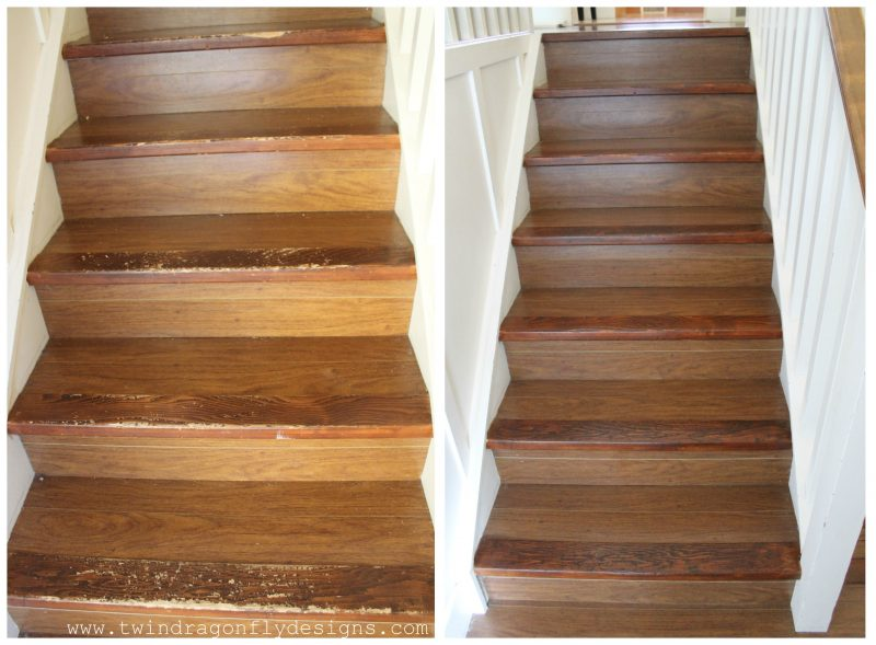 Stairs before and after photo