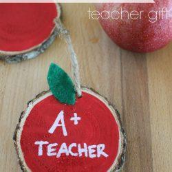 Wooden Apple Ornament Teacher Gift
