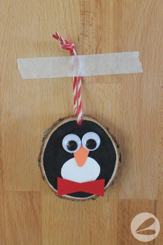 wood slice penguin ornament