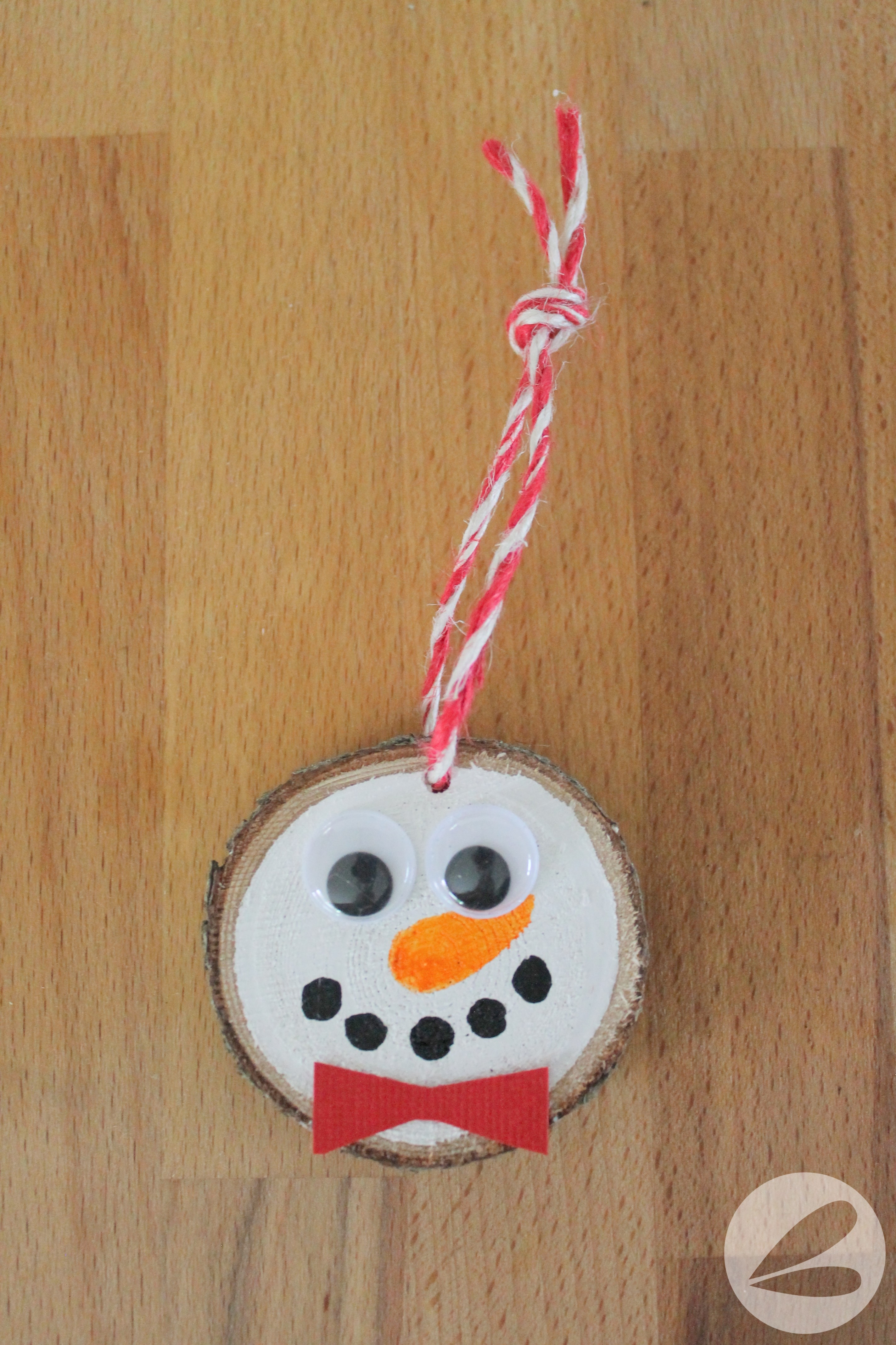 Valentines Home Decor Wood Slice Snowman Ornament