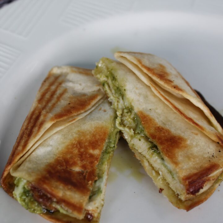 Pie Iron Chicken Pesto Pockets