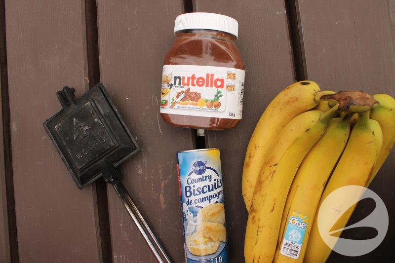 Pie Iron Nutella & Banana Biscuits