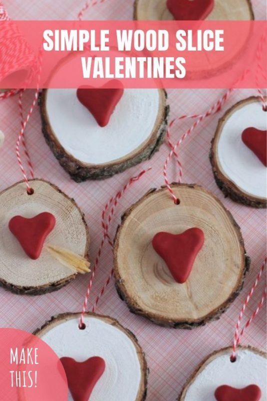 simple wood slice valentines