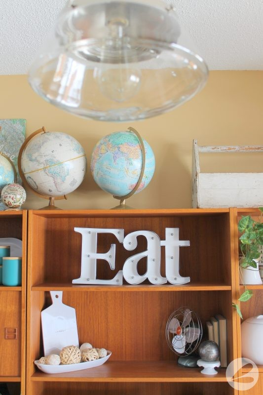 Dining Room Lighting and Shelving
