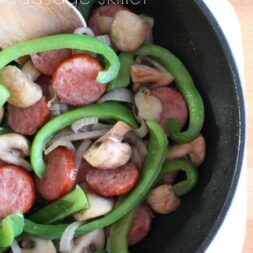mushroom and green pepper sausage skillet recipe