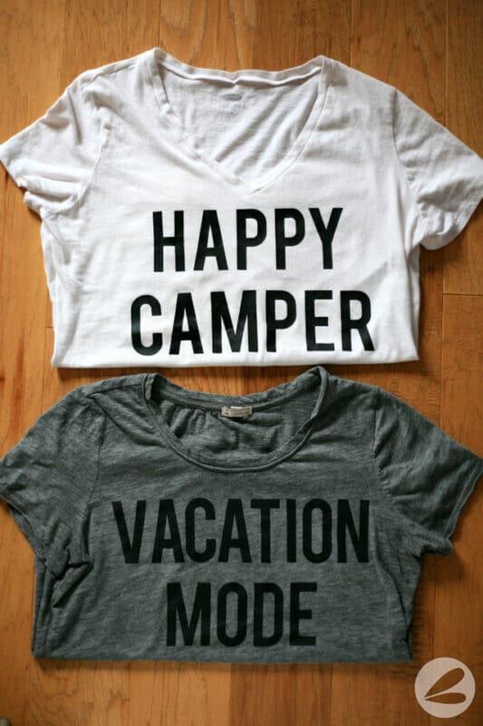 diy silhouette lettering tee happy camper