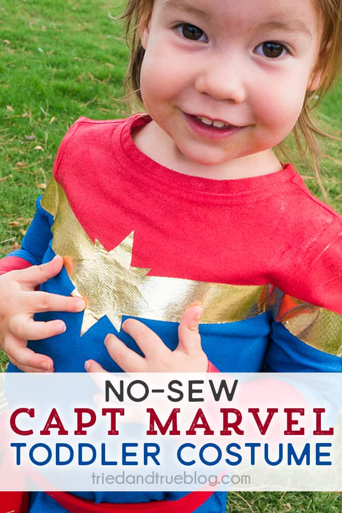 No-Sew Captain Marvel Toddler Costume