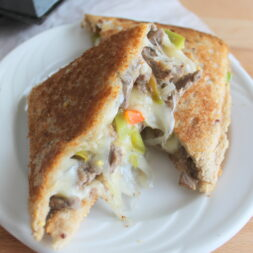 pie iron philly cheesesteak sandwich