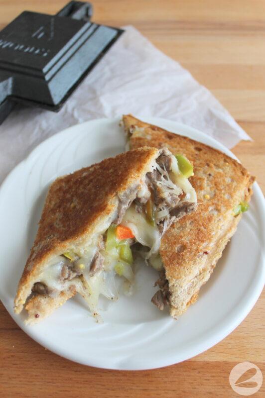 pie iron philly cheesesteak sandwich