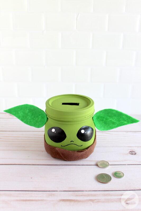 Baby Yoda Piggy Bank Craft