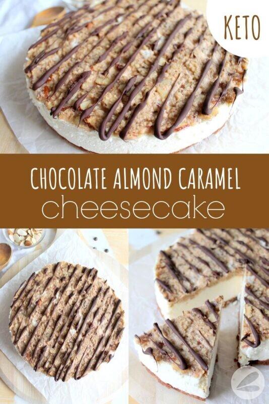 Keto Chocolate Almond Caramel Cheesecake