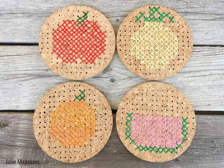 cross stitch fruit coasters