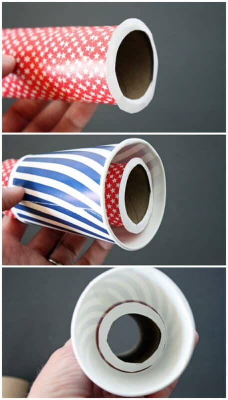 push cardboard tube through paper cup for pirate spyglass