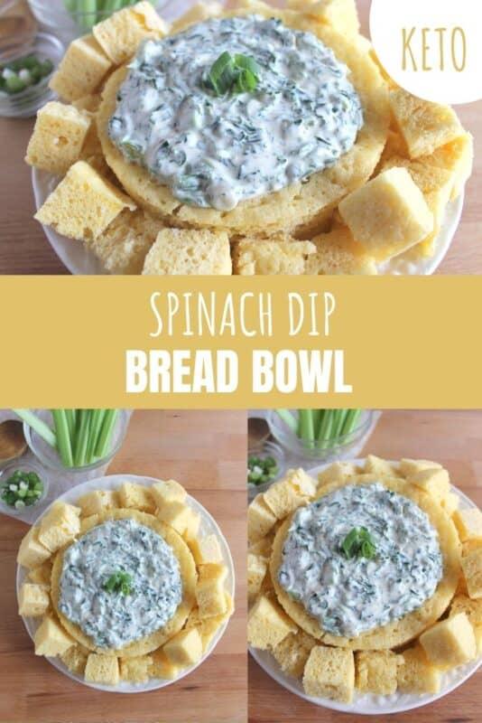 keto spinach dip bread bowl