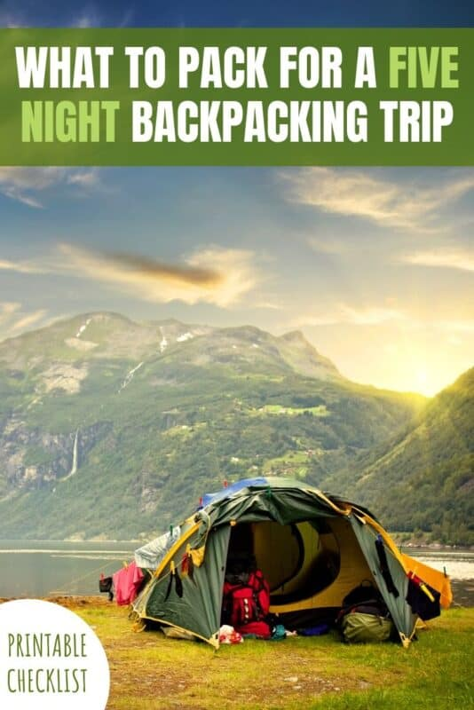 what to pack for a five night backpacking trip