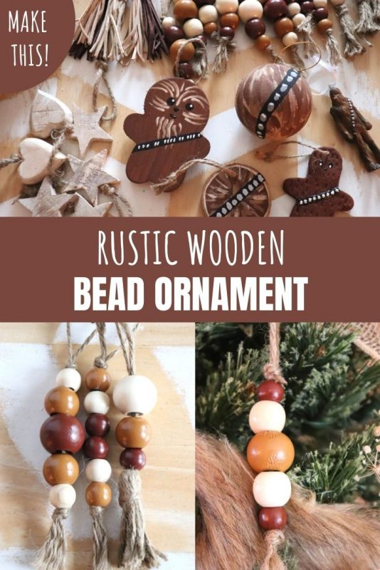 diy rustic wooden bead ornament