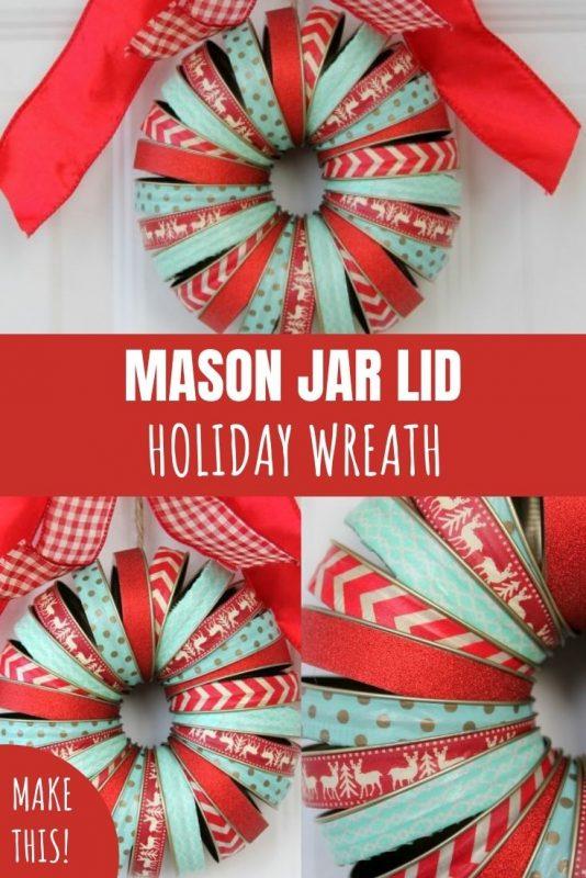 mason jar lid holiday wreath