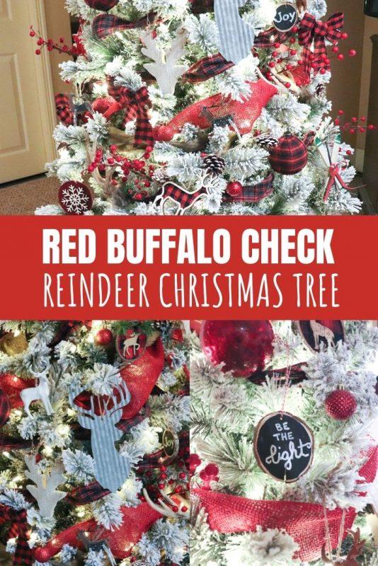 red buffalo check reindeer christmas tree