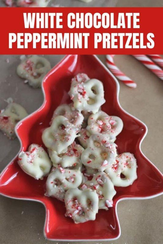white chocolate peppermint pretzels
