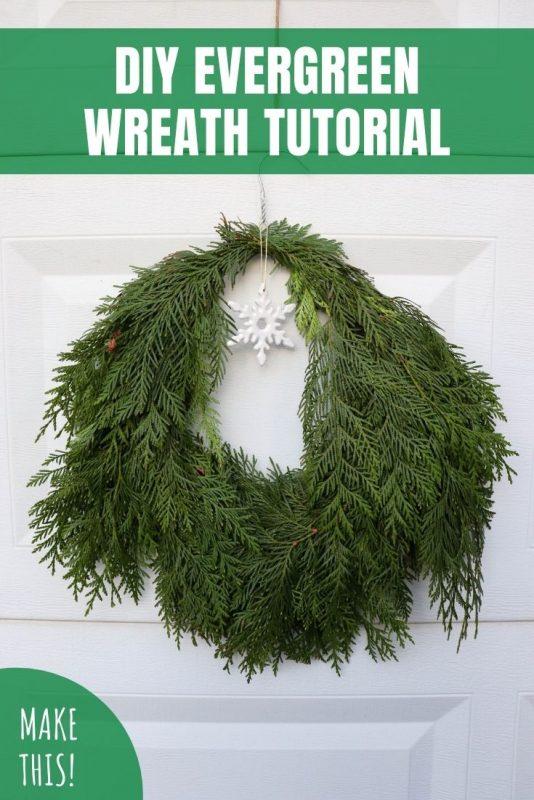diy evergreen wreath tutorial