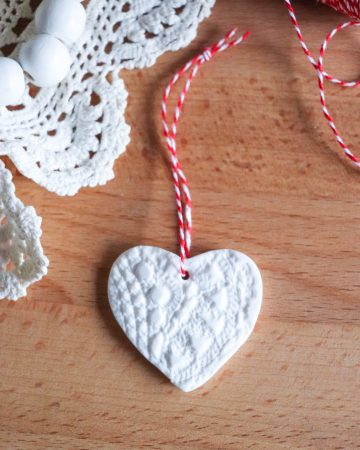 pressed clay heart ornaments